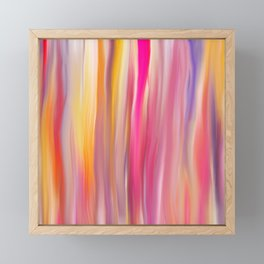 Abstract pink violet yellow watercolor brushstrokes stripes Framed Mini Art Print