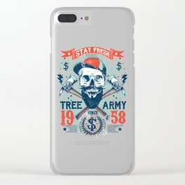 Stay Fresh Tree Army Vintage Skull Clear iPhone Case