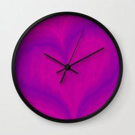 Valentine's Day Purple Violet Heart Pattern Wall Clock
