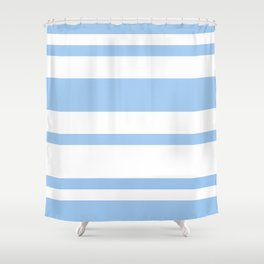 Mixed Horizontal Stripes - White and Baby Blue Shower Curtain