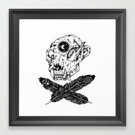 Feathered Skull and Crossbones Print Framed Art Print