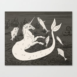 Unicorn Mermaid battle at Sea Canvas Print