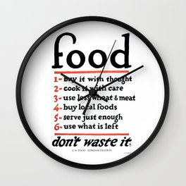 Don't Waste Food WWI World War I Poster Wall Clock