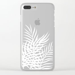 Palm Leaves_Teal Clear iPhone Case