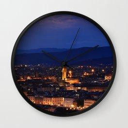 Panorama of Duomo Santa Maria Del Fiore, tower of Palazzo Vecchio. Wall Clock
