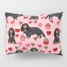 Cavalier King Charles Spaniel black and tan valentines day love cupcakes dog breed patterns gifts Pillow Sham