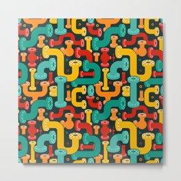 "Pattern ""Colorful Plumbing Elements"" Metal Print"