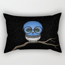 Baby Owl with Glasses and Estonian Flag Rectangular Pillow