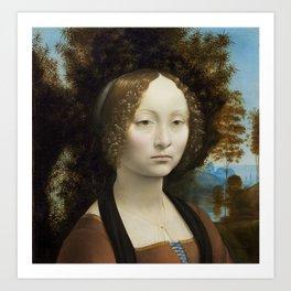 Leonardo da Vinci Ginevra de' Benci 1474 -1478 Painting Art Print