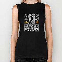 Campfires and Tacos Funny Taco Camping Distressed Biker Tank
