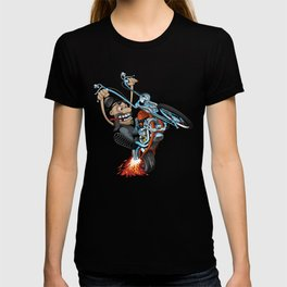 Biker popping a wheelie on a chopper motorcycle cartoon T-shirt