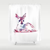 fawn Shower Curtains featuring Fawn by lauramaahs