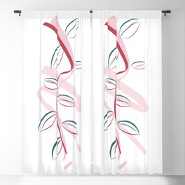 Long-String Rubber Fig Minimalist Botanical Abstract Art Blackout Curtain