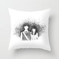 500 days of summer Throw Pillows featuring 500 days of summer by Aleishajune