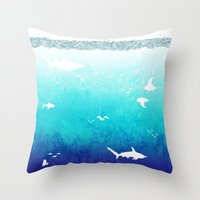 Throw Pillows featuring I Am The Sea by This Might Hurt