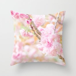double cherry blossoms in japanese garden Throw Pillow