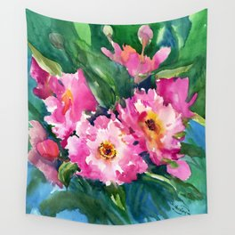 Peonies, garden flowers bright pink green garden floral peony art Wall Tapestry