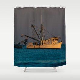 Tucker J fishing boat Shower Curtain
