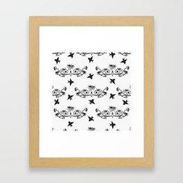 Tattoo like pattern with black birds Framed Art Print