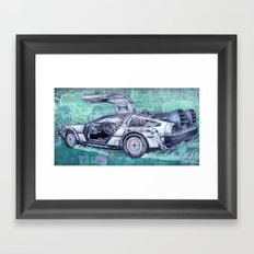 Back To The Future Delorean Framed Art Print
