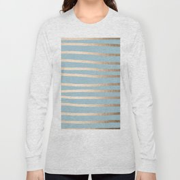 Abstract Drawn Stripes Gold Tropical Ocean Sea Blue Long Sleeve T-shirt