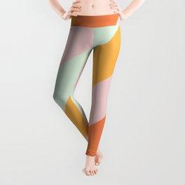 Summer Sorbet Pastel Curved Stripes Leggings