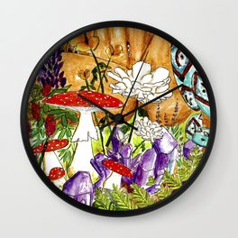 The Things You Find in Nature - Watercolor Paiting of Earth Goddess Wall Clock