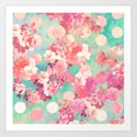 Romantic Pink Retro Floral Pattern Teal Polka Dots by girlytrend