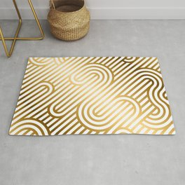 Art Deco Gold and White Geometric Ornate Pattern Rug