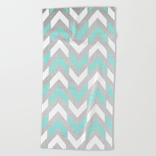 Teal & White Herringbone Chevron on Silver Wood Beach Towel