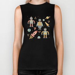 Vintage Inspired Robots in Space Biker Tank