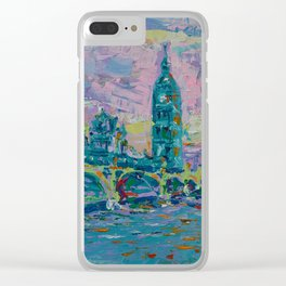 London Bridge - palette knife abstract city landscape with Big Ben Clear iPhone Case