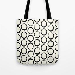 Polka Dots Circles Tribal Black and White Tote Bag