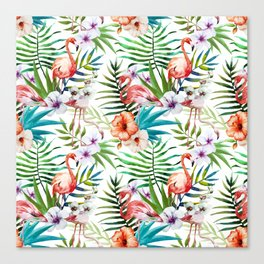 Tropical pink flamingo pattern Canvas Print