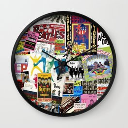 British Rock and Roll Invasion Fab Four Vintage Concert Rock and Roll Photography / Photographs Collage  Wall Clock