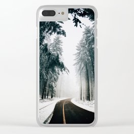 Standing in snow Clear iPhone Case