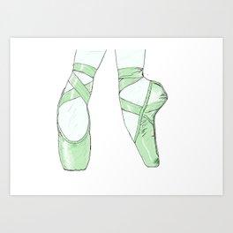 Ballet Pumps: Green Art Print