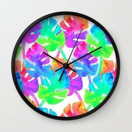 Watercolor Monstera Leaves in Neon Rainbow + White Wall Clock