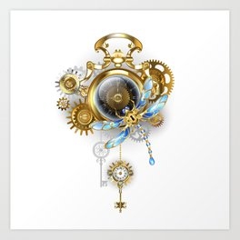Steampunk Clock with Mechanical Dragonfly Art Print