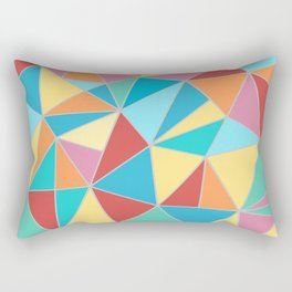 Triangle Geometric Art, Blue, Teal, Red, Orange, Yellow, Pieces Art Rectangular Pillow