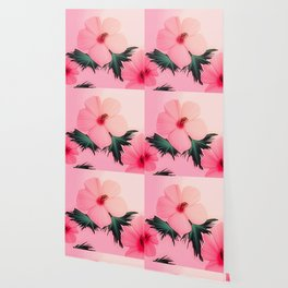 Tropical Pink Hibiscus Flower Print Wallpaper