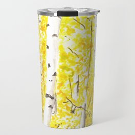 Yellow Aspen Trees Watercolor art Painting Yellow Birches wall hanging wall Art Travel Mug