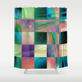 Abstract Exclusion Pattern Shower Curtain