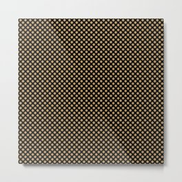 Black and Pale Gold Polka Dots Metal Print
