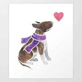Watercolour Bull Terrier Art Print
