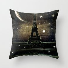 Paris Midnight Throw Pillow