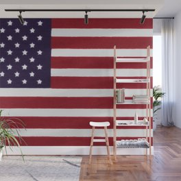 """Stars & Stripes flag, painterly """"old glory"""" Wall Mural"""