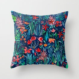 Tropical Ink - a watercolor garden Throw Pillow