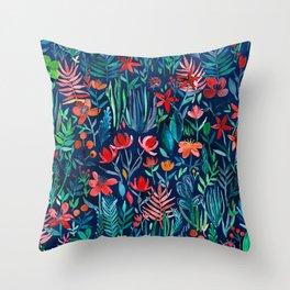 Tropical Ink - a watercolor garden Throw Pillow