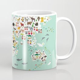 Cartoon animal world map for children and kids, back to schhool. Animals from all over the world Coffee Mug